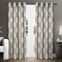 Akola Gray Medallion Curtain Panel Set, 84 in.
