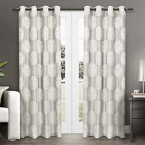 Akola Dove Gray Medallion Curtain Panel Set, 84 in