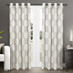 Akola Dove Gray Medallion Curtain Panel Set, 84 in