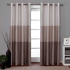 Chateau Tan Stripe Curtain Panel Set, 84 in.