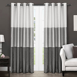 Chateau Black Stripe Curtain Panel Set, 84 in.