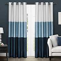 Chateau Blue Stripe Curtain Panel Set, 96 in.