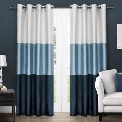 Chateau Blue Stripe Curtain Panel Set, 96 in.