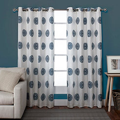 Ornate Teal Medallion Curtain Panel Set, 96 in.