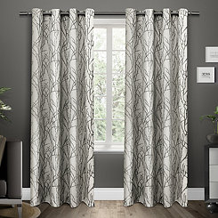 Black Pearl Branches Curtain Panel Set, 84 in.