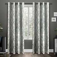 Teal Branches Curtain Panel Set, 84 in.