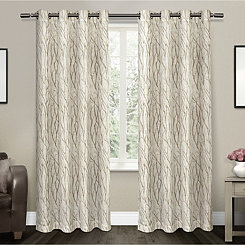 Oakdale Tan Branches Curtain Panel Set, 84 in.