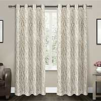 Oakdale Tan Branches Curtain Panel Set, 96 in.