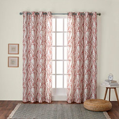 Orange Branches Curtain Panel Set, 84 in.