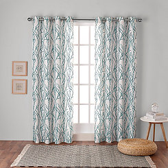 Teal Branches Curtain Panel Set, 108 in.