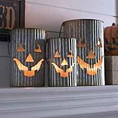 Galvanized Jack O' Lantern Luminaries, Set of 3