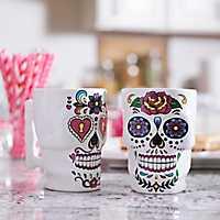 Day of the Dead Sugar Skull Mugs, Set of 2