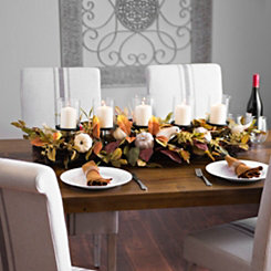 Neutral Harvest Leaf and Pumpkin Centerpiece