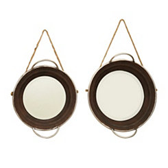 Round Rustic Wall Mirrors, Set of 2