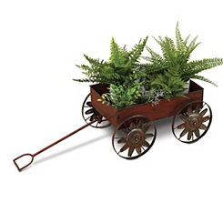 Red Metal Wagon Planter