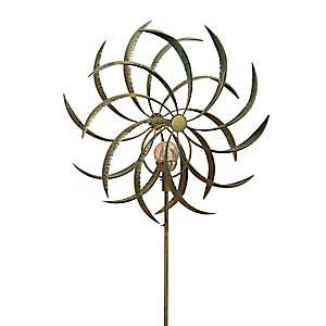 Solar Light Metal Flower Spinner Yard Stake