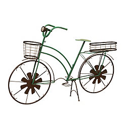 Green Solar Light Bicycle Basket Planter