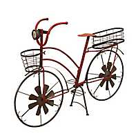 Red Solar Light Bicycle Basket Planter
