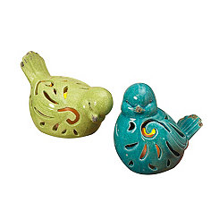 Ceramic Birds with LED Candles, Set of 2