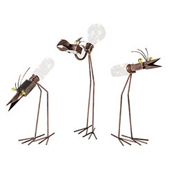 Solar Light Metal Birds, Set of 3
