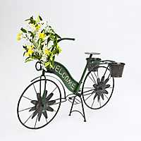 Green Solar Light Welcome Bicycle Planter