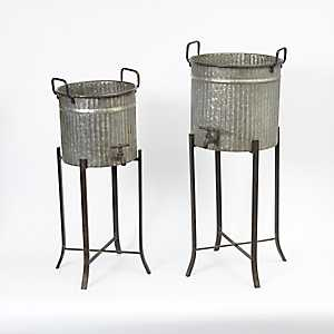 Round Galvanized Metal Planters, Set of 2