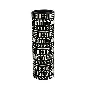 Black and White Patterned Ceramic Vase