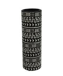 Black and White Patterned Ceramic Vase