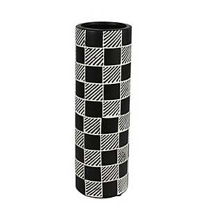 Black and White Checkers Ceramic Vase