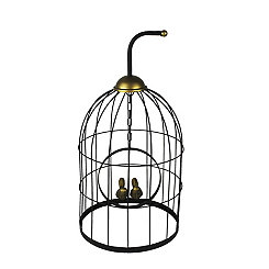 Birds in Cage Bronze Statue