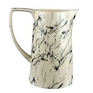 Black and White Marbled Pitcher Vase
