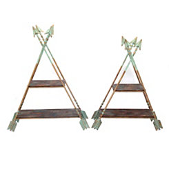 Blue Arrow 2-Tier Stands, Set of 2