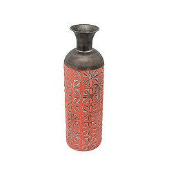 Orange Floral Cylinder Vase