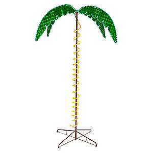 Pre-Lit Holographic Palm Tree, 7 ft.