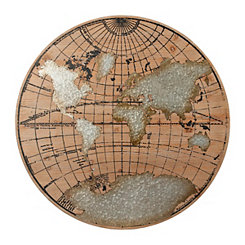 Galvanized Metal and Wood Globe Wall Plaque