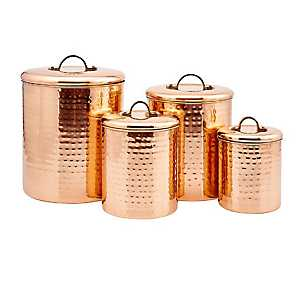 Hammered Copper Canisters, Set of 4