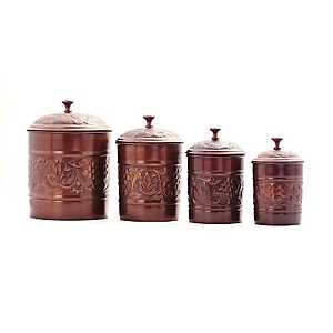 Antique Heritage Copper Canisters, Set of 4