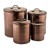 Antique Hammered Copper Canisters, Set of 4