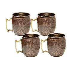 Antique Hammered Copper Moscow Mule Mugs, Set of 4