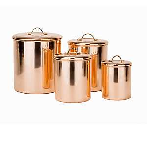 Polished Copper Canisters, Set of 4