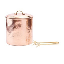 Hammered Copper Ice Bucket with Tongs