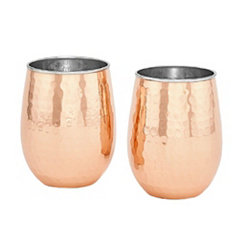 Hammered Copper Stemless Wine Tumblers, Set of 2