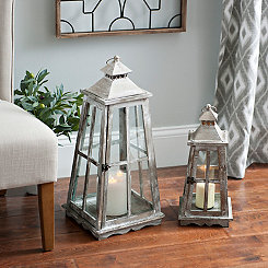 Distressed Triangle Lanterns, Set of 2