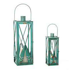 Blue Oar Lanterns, Set of 2