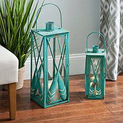 Blue Oar Lanterns, Set of 2