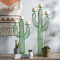 Set of 2 Green Wire Cactus Candle Holders