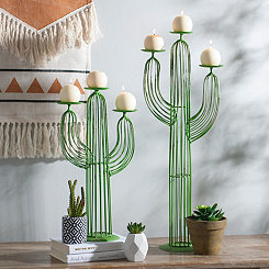 Green Wire Cactus Candle Holders, Set of 2