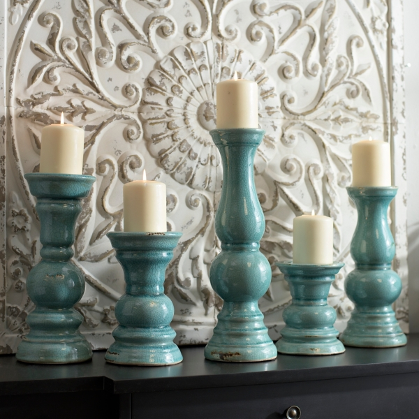 Set of 5 Distressed Turquoise Candle Holders