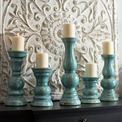 Distressed Turquoise Candle Holders, Set of 5