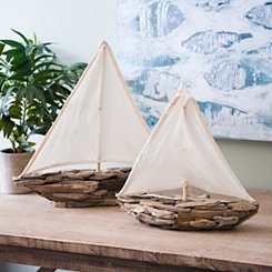Driftwood Sailboats with Cotton Sails, Set of 2